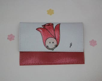 Multuso-leather pouch with red rose smiles