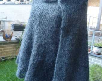 Poncho - cape with mohair hand knitted wool in subtle shades of grey-black