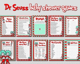 INSTANT DL- 10 Dr Seuss Baby Shower games-  Printable Ready to Go Package