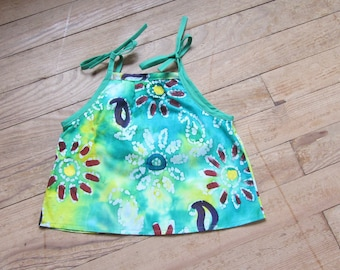 Girl 6 months cotton green batik tunic