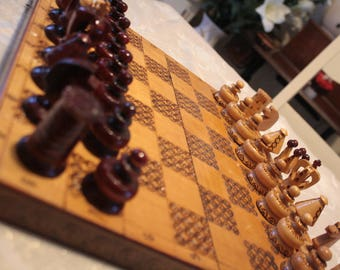 carved wooden chess box