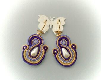 Iris earrings soutache