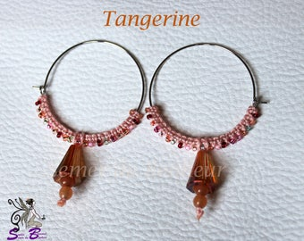 "Hoop earrings, Pearl and Crystal ""Tangerine"""