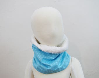 SNOOD scarf blue with white dots