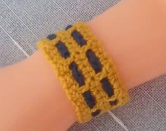 "Unisex crochet bracelet / ""Best Friends"" Friendship Bracelet gold blue"