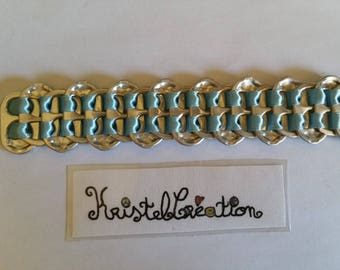 Bobbin Mod2 and sky blue Satin Ribbon bottle cap bracelet