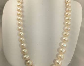 SALE +60% OFF- Real Fresh Water White 8.5-9 mm Pearl Necklace- 17 inches- Great Value