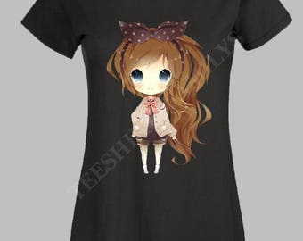 "TEE SHIRT personalized ""girl with long hair '"""