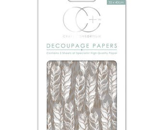 Paper patch (3 sheets) brown feathers - CCDECP222