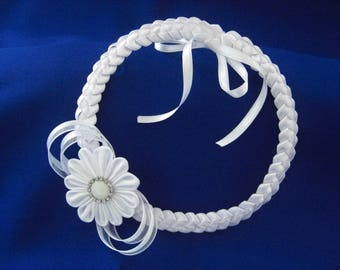 White headband with flower