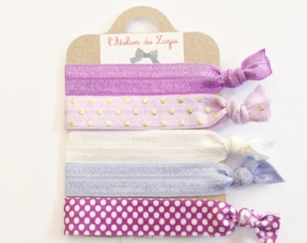 Twistband or hair ties: variegated purple, purple and white x 5