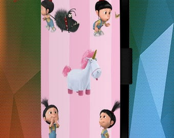 Agnes Unicorn Fluffy Pony Cartoon Faux Leather Wallet Flip Samsung iPhone Case Cover