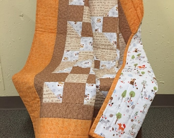 38.5x48 Woodland Baby Quilt. A great baby shower gift for a boy or a girl!