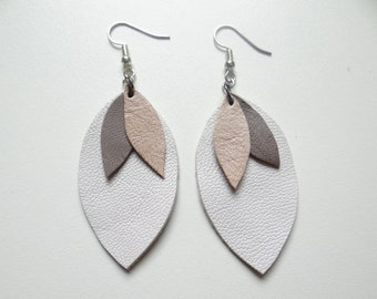 White Gold Leather leaf earrings lightweight and timeless grey