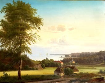 Coastal View To The Sea, 19th Century, Danish, Oil on Canvas