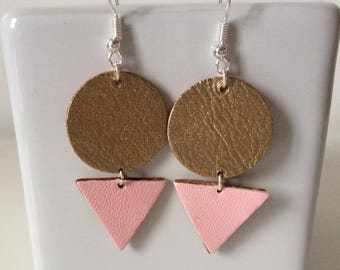 Leather earrings pastel pink and gold