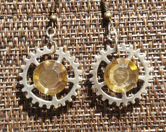 Rhinestone Gear Earrings