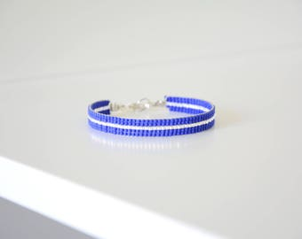 Blue and silver woven bracelet in Miyuki Delica beads