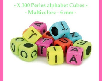 Alphabet Cubes - multicolored - 6 mm - approximately 300 pcs - new beads