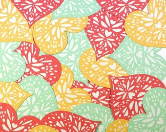 Embellishments - Die cuts hearts, red, orange and blue - 4.3 x 4.2 cm - 24 pcs - Toga - new