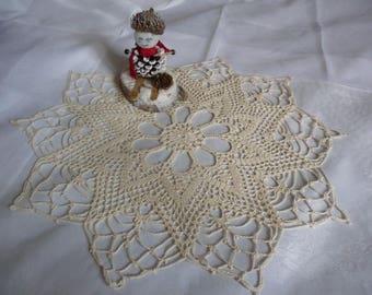 Handmade lace doily in ecru fine Mercerized cotton