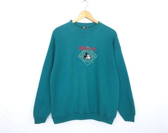 Mickey Mouse Disney Cartoon Spellout Embroidery Pullover Jumper Sweatshirt