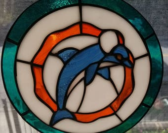 Dolphins Stained Glass Suncatcher