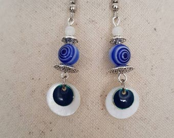Silver blue white swirl enamel sequin Pearl glass bead hook earrings