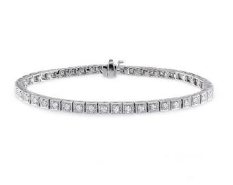 Chocolate Tennis Bracelet. 14K - 18K Gold and Diamonds Bracelet