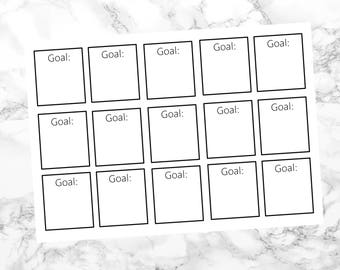 goal planner stickers, diary stickers, journal stickers, monochrome stickers, goal lists, achievement stickers, motivation stickers