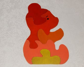 Wooden puzzle shaped bear 5 pieces for child