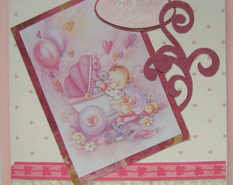card wishes and congratulations for the birth of a girl with dress turquoise print fabric