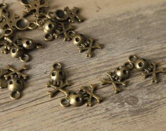 Bronze skull skull brass charm 21mm