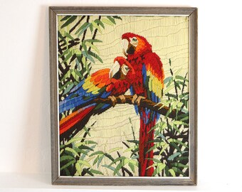 Vintage Rainbow Parrots Crewel EmbroideryFramed Art