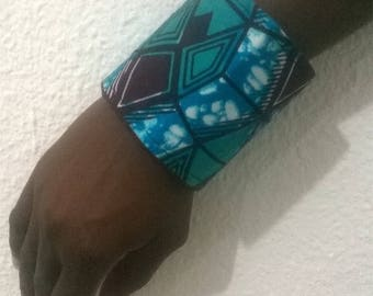 Cuff Bracelet blue wax fabric