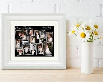 Framed Personalised Wedding Gift Black & White  Wedding Photo Collage, Wedding Gift, Wedding Keepsake