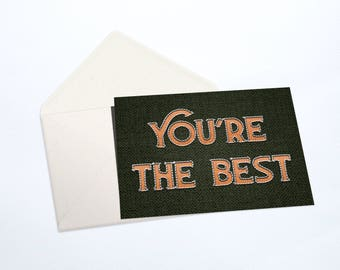 You're The Best Notecard Stationery Set | Embroidery Stitch Effect, Hunter Green, Green, Peach, and White