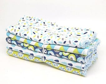 5 large wipes baby or cleansing tones blue and green //cadeau baby //cadeau woman