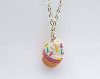 White cupcake necklace with polymer clay necklace