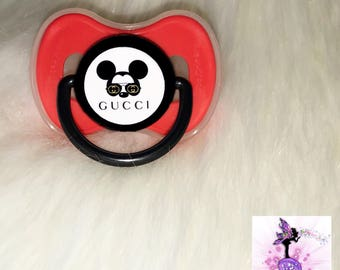 Red and Black Mickey Mouse  Pacifier | Custom Baby Pacifier | Baby | Designer Inspired |  Binky | Customized Pacifier/Binky
