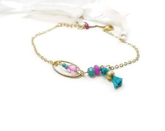 Minimalist gold plated chain in pink and turquoise bracelet
