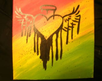 Rasta Heart-Acrylic on Canvas