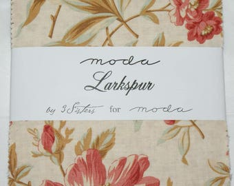 "Patchwork charm pack by moda - ""Larkspur""."