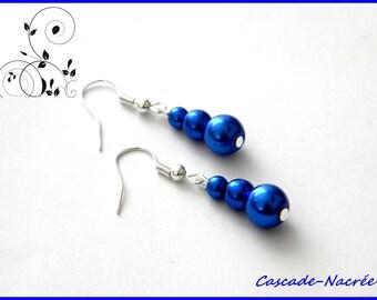 Royal bridal wedding Pearl Pearly blue earrings