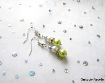 white lime purple bridal wedding Pearl Earrings green rhinestone Pearl
