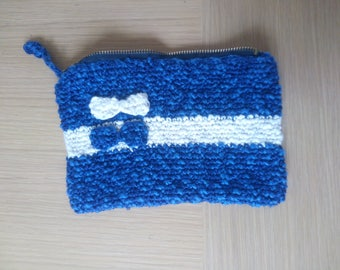bag 19cm / 12cm in the blue and white cotton hook