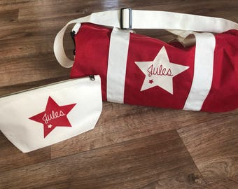 Entire bag and toiletry bag personalized name Christmas star