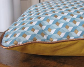 geometric blue/white/gold with piping pillow patterns copper