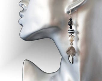 novelty earrings ethnic with natural feather Silver 925 9