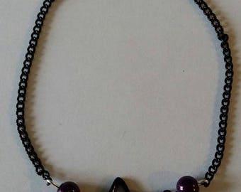 """Black and purple EKG"" bracelet 20.5 cm"